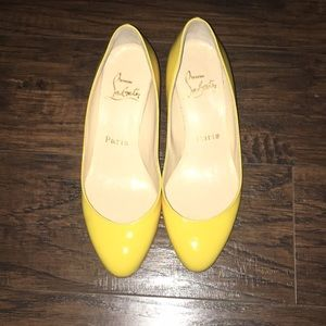 Authentic Christian Louboutin Yellow Wedges